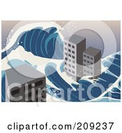 Royalty Free RF Clipart Illustration Of A Tsunami Wave Flowing Around City Buildings by mayawizard101