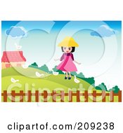 Royalty Free RF Clipart Illustration Of A Happy Girl Feeding White Birds In A Yard