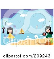 Royalty Free RF Clipart Illustration Of Girls Taking Pictures At The Beach by mayawizard101