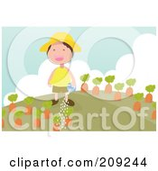 Royalty Free RF Clipart Illustration Of A Happy Boy Watering His Carrot Garden