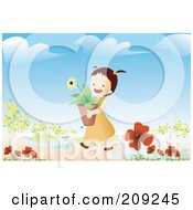 Girl Carrying A Potted Flower In A Garden