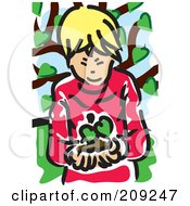 Blond Boy Holding A Seedling Plant