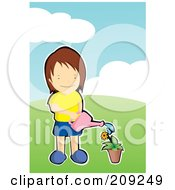 Royalty Free RF Clipart Illustration Of A Boy Watering A Flower In A Pot