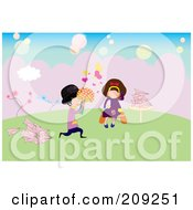 Royalty Free RF Clipart Illustration Of A Boy Giving Flowers To A Girl Listening To Music With Paper Planes