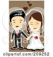 Royalty Free RF Clipart Illustration Of A Cute Happy Wedding Couple Holding Hands Over Brown by mayawizard101