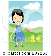 Royalty Free RF Clipart Illustration Of A Girl Watering Yellow Flowers