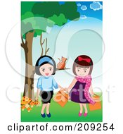 Royalty Free RF Clipart Illustration Of A Cat Sitting On A Tree Branch Watching Two Girls by mayawizard101