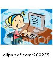 Royalty Free RF Clipart Illustration Of A Confused Blond Girl Using A Computer by mayawizard101