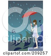 Royalty Free RF Clipart Illustration Of A Girl With An Umbrella Over A Flooded City