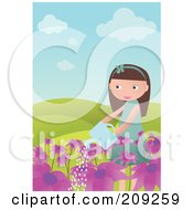 Royalty Free RF Clipart Illustration Of A Girl Watering Purple Flowers by mayawizard101