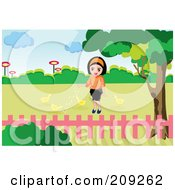Royalty Free RF Clipart Illustration Of A Happy Girl Feeding Chicks In A Yard