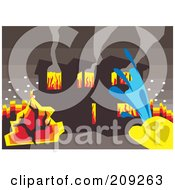 Royalty Free RF Clipart Illustration Of A Fireman Spraying Water On A Burning House by mayawizard101