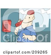 Royalty Free RF Clipart Illustration Of A Man Using A Wall Mounted Telephone by mayawizard101
