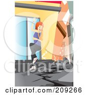 Royalty Free RF Clipart Illustration Of A Woman Trying To Grasp A Building During An Earthquake