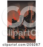 Royalty Free RF Clipart Illustration Of A Wildfire Burning Up A City by mayawizard101