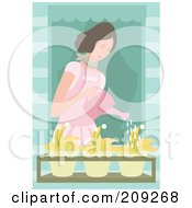 Lady Watering Flowers In A Window Planter Box