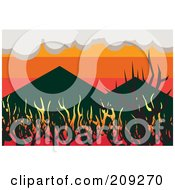 Royalty Free RF Clipart Illustration Of A Wildfire Burning Up Woodland Near Mountains by mayawizard101
