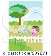 Royalty Free RF Clipart Illustration Of A Happy Girl Chasing Birds In A Yard