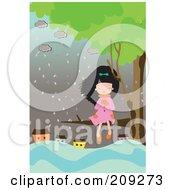 Girl Sitting In A Tree Near A Flooded Village