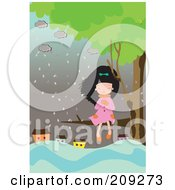 Girl Sitting In A Tree Near A Flooded Village