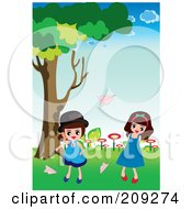 Royalty Free RF Clipart Illustration Of Girls Tossing Paper Planes Outside by mayawizard101