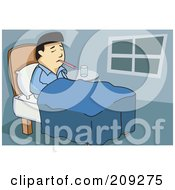 Royalty Free RF Clipart Illustration Of A Sick Asian Man With A Thermometer In His Mouth