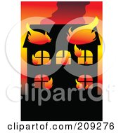 Royalty Free RF Clipart Illustration Of A Wildfire Burning Up A House by mayawizard101