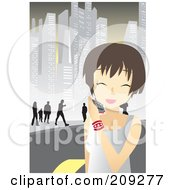 Royalty Free RF Clipart Illustration Of A Happy Woman Walking In A City And Talking On A Cell Phone by mayawizard101