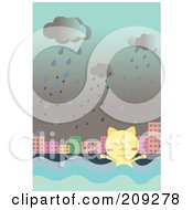 Royalty Free RF Clipart Illustration Of A Cat Swimming In Flood Waters