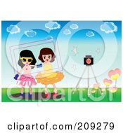 Royalty Free RF Clipart Illustration Of A Frame Around Two Girls By A Camera Outdoors by mayawizard101