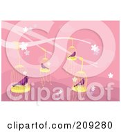 Royalty Free RF Clipart Illustration Of Purple Caged Birds Over Pink