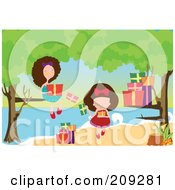 Royalty Free RF Clipart Illustration Of Two Girls Opening Presents Under Trees At A Beach by mayawizard101