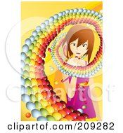 Swirl Of Round Candies Around A Little Girl