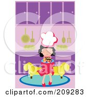 Little Chef Girl Sitting On A Bench With A Plate Of Sushi In A Kitchen