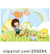 Royalty Free RF Clipart Illustration Of A Girl Taking A Fishbone From Her Cat by mayawizard101