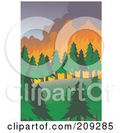 Royalty Free RF Clipart Illustration Of A Wildfire Burning Through Evergreens