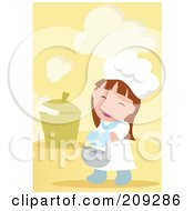 Royalty Free RF Clipart Illustration Of A Little Chef Girl Carrying A Bowl By A Steaming Pot by mayawizard101