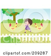 Royalty Free RF Clipart Illustration Of A Happy Girl Feeding Chickens In A Yard
