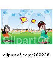 Two Girls Playing With Kites In A Field Near A Village