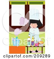Little Chef Girl With A Steaming Pot And Condiments