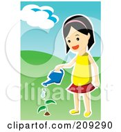 Royalty Free RF Clipart Illustration Of A Girl Watering A Little Plant