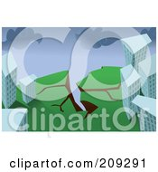 Royalty Free RF Clipart Illustration Of A Ledge Cracking By Buildings During An Earthquake