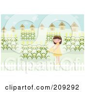 Girl Watering Her Corn Garden