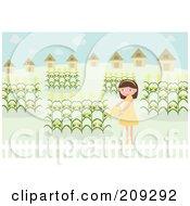 Girl Watering Her Corn Garden