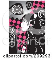 Emo Girl Listening To Music Over Pink And Black Checkers