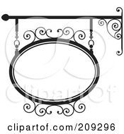 Royalty Free RF Clipart Illustration Of An Oval Wrought Iron Storefront Sign 4 by Frisko