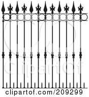 Royalty Free RF Clipart Illustration Of Ornate Wrought Iron Fencing by Frisko