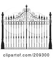Royalty Free RF Clipart Illustration Of An Ornate Wrought Iron Gate by Frisko
