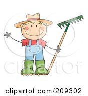 Royalty Free RF Clipart Illustration Of A Caucasian Farmer Boy Holding A Rake And Waving by Hit Toon