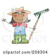 Royalty Free RF Clipart Illustration Of A Black Farmer Girl Holding A Rake And Waving